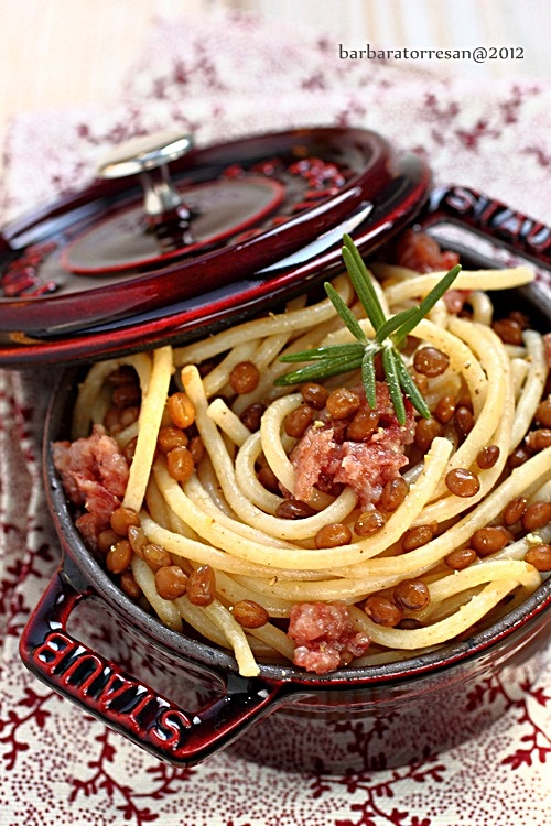 Spaghettoni con lenticchie e cotechino (ultima ricetta!)