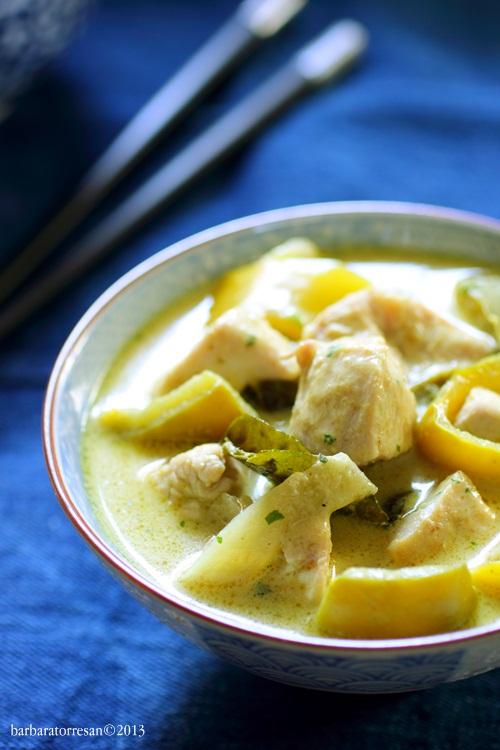 …curry di pollo (verde) e basmati