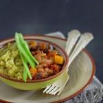 quinoa con salsa di peperone e caponata