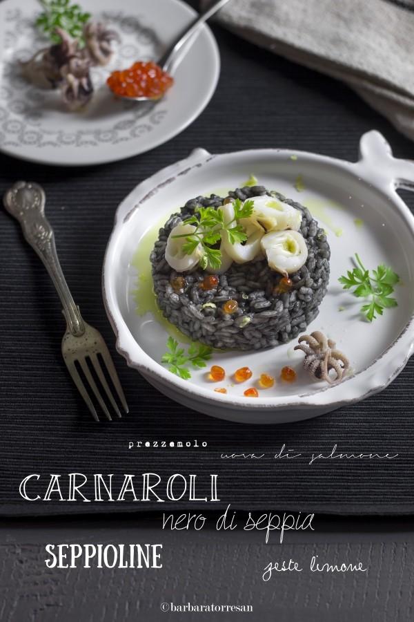 Risotto al nero di seppia (e uova di salmone)