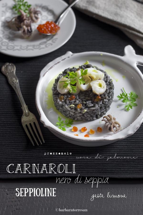 riso al nero di seppia e uova di salmone