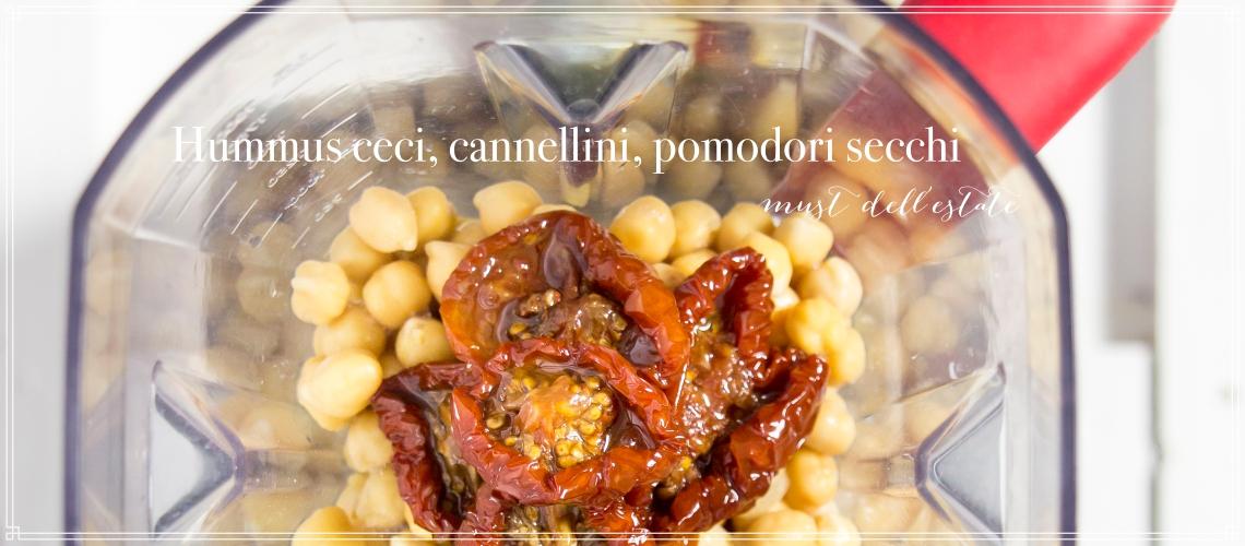 Hummus con ceci, cannellini e pomodori secchi.