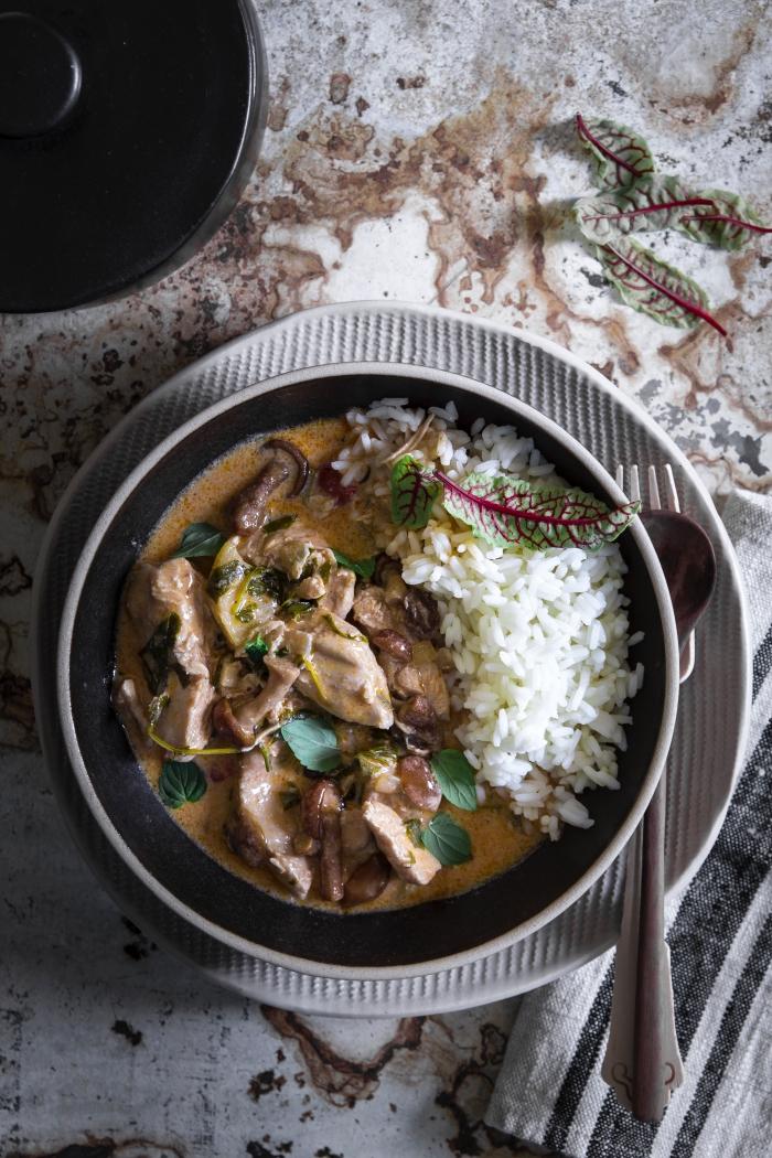 curry rosso, di carne e funghi, servito con riso diventa un piatto unico